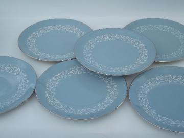 Blue brocade vintage Flintridge California china, dinner plates set of 6