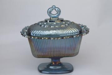 Blue carnival glass candy dish, vintage Indiana glass wedding bowl w/ lid