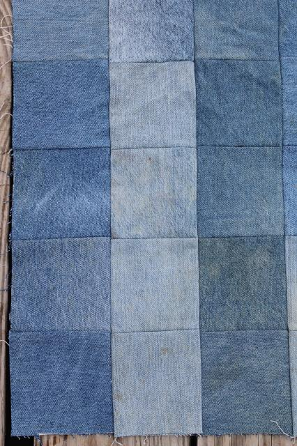 blue denim jeans patchwork quilt top, upcycled fabric hippie western vintage bed cover