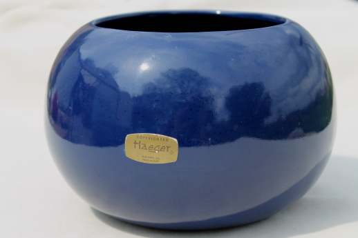 Blue Glaze Haeger Pottery Round Ball Vase Mod Flower Pot Or Planter