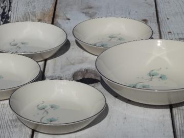 Blue Lace wild flowers, vintage Taylor, Smith and Taylor china salad bowls set