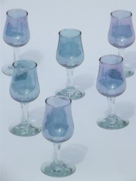 Blue luster stained glass sherry glasses, tiny vintage wine goblets