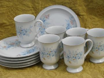 Blue Morn Fanci Florals - Japan breakfast set, mugs & plates for 6