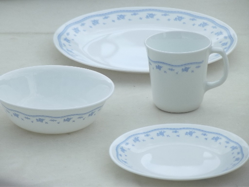 Blue Morning Corelle Glass Dishes Set For 8 Bowls Plates
