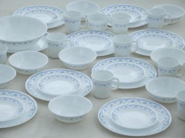 Blue Morning Corelle glass dishes set for 8, bowls, plates, mugs etc.