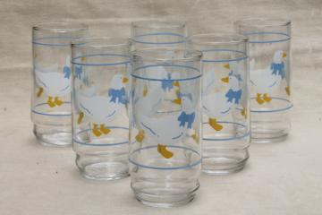blue ribbon bow country goose print drinking glasses, 80s vintage tumblers set of 6