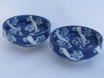 Blue & white porcelain, vintage china rice or noodle bowls, oriental plum / cherry blossom