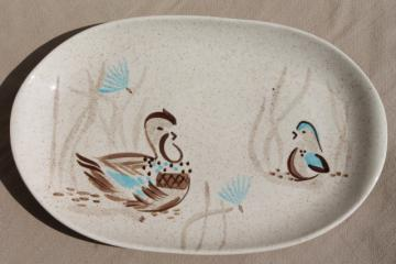 Bob White Red Wing pottery platter, mod 1950s vintage ceramic dinnerware