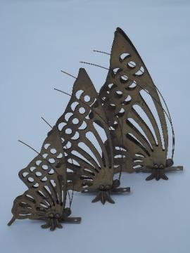 Brass butterfly set, retro 70s vintage metal wall art sculpture plaques