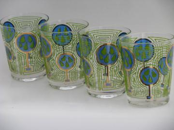 Briard vintage bar glasses, mod aqua blue-green fruit, Capri of California