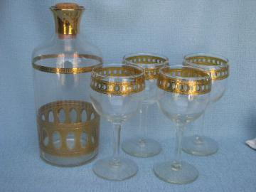 Briard vintage gold decorated glass wine glasses / decanter bottle