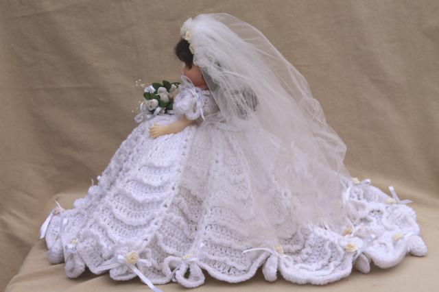 bride in white full skirt & veil, crocheted bed doll boudoir pillow w/ plastic girl doll