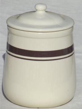 Brown band McCoy pottery canister or cookie jar, vintage McCoy