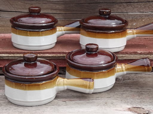 Brown Band Oven Stoneware Onion Soup Bowls Or Individual