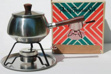 brushed stainless steel fondue pot, mid-century mod vintage set in original box