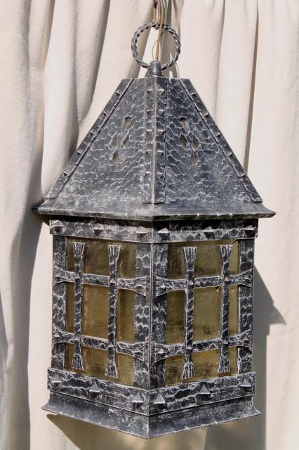 brutalist 70s vintage hanging light, lamp w/ wrought ...