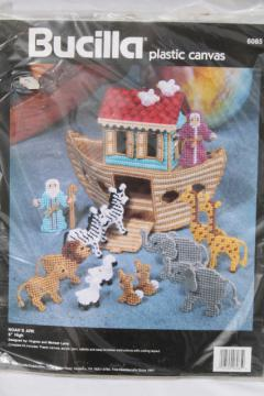Bucilla plastic canvas kit complete w/ yarn, Noah's Ark w/ toy animals