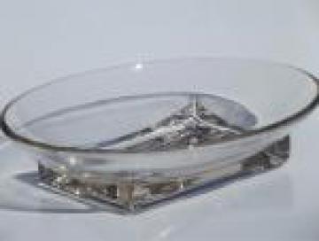 Cambridge square base oval bowl, mid-century vintage elegant glass vegetable bowl
