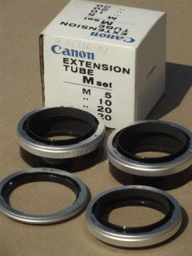 Canon camera lens extension tube set, 4 extension tubes M5, M10, M20,M20