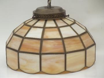 Carmel custard slag glass swag lamp, vintage leaded glass shade pendant light