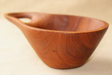 carved teak wood scoop or handled bowl, retro 60s vintage danish modern style dish