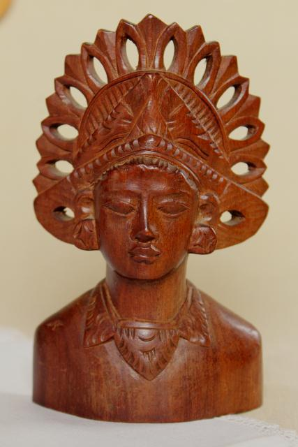 carved wood figures, bust & masks from Indonesia, Bali Janger dancer in headdress etc.