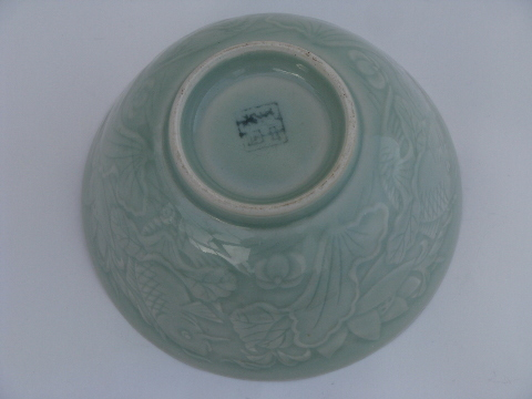 celadon glazed pottery bowl w koi fish pond design maker