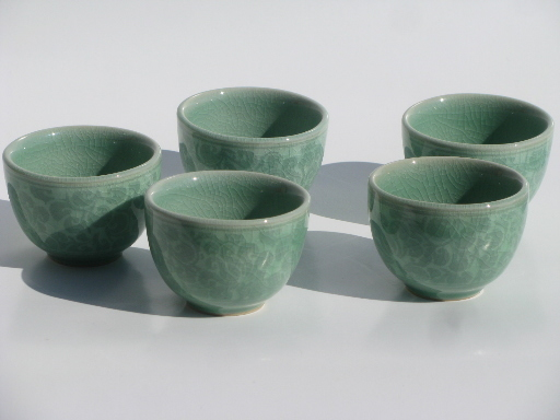 Celedon green tea ceremony set pot and cups in Green tea pot set