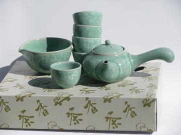 Celedon green tea ceremony set, pot and cups in traditional Korean pottery