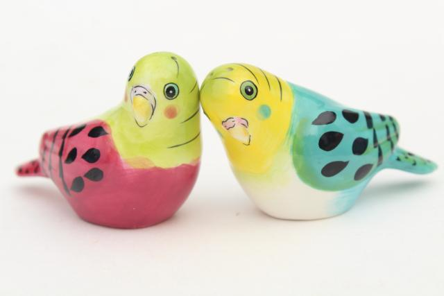 ceramic budgie parakeet birds salt and pepper shakers, figural S&P set