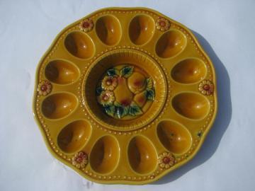 Ceramic egg plate, autumn fruit & flowers, handpainted vintage Japan