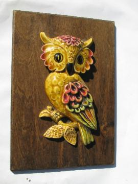 Ceramic owl on wood board, rustic 70s retro vintage wall plaque