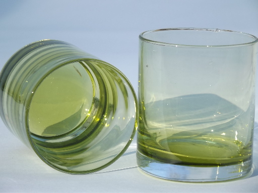 Chartreuse drinks glasses, yellow-green glass old-fashioned bar glasses