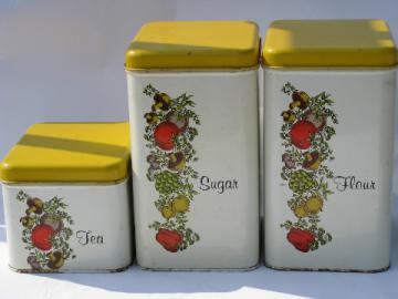 Cheinco vintage kitchen canisters, retro Spice of Life pattern
