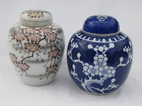 Cherry Blossoms Vintage Porcelain Ginger Jars Blue