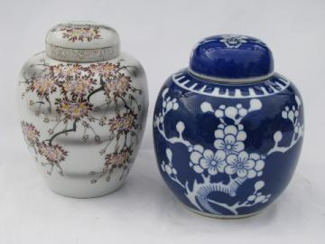 Cherry Blossoms, vintage porcelain ginger jars, blue & white china, pink flowers
