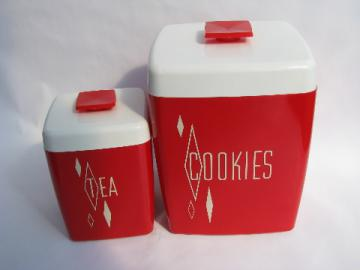 Cherry red / white vintage plastic COOKIES cookie jar, also Tea canister