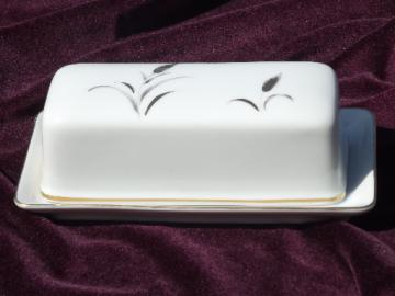China butter dish, covered plate Eternal Harvest gold and silver wheat