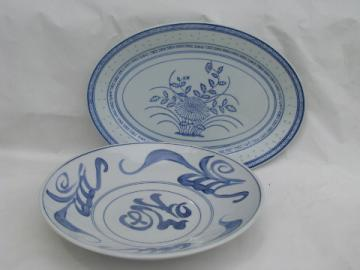 Chinese blue & white porcelain, china platter, large round bowl