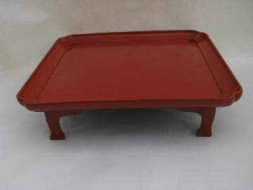 Chinese cinnabar red lacquer ware platform stand tray, 60s retro