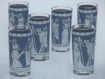 Classical greek or roman vintage glasses set, matte jasperware blue & white
