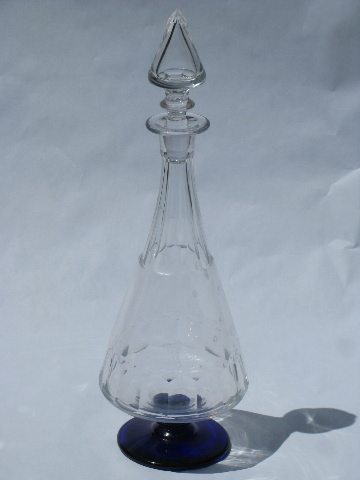 Clear & cobalt blue glass, tall & pointy vintage wine