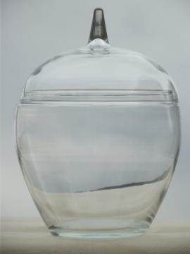 Clear glass apple cookie jar canister from vintage country kitchen