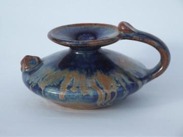 Cobalt blue Canyon art pottery oil jar lamp base