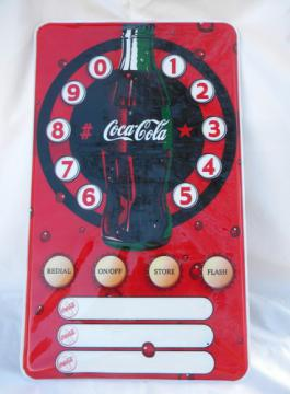 Coca-Cola wall mounting poster phone/telephone w/vintage Coke bottle