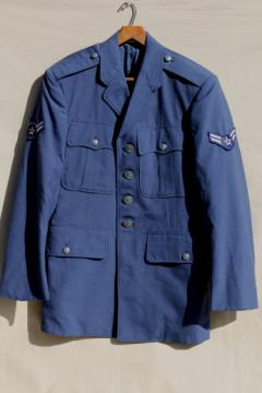 Cold war vintage US Air Force uniform jacket, 50s 60s insignia buttons