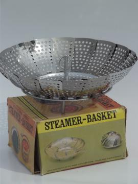Collapsible kitchen steamer  basket in original box, vintage Japan