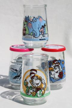 Collectible Welch's jelly glasses, Dr. Seuss Horton & Cat in the Hat, humpback whale