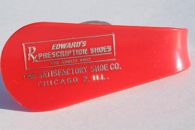 collection of vintage plastic shoe horns w/ old Chicago 2 store advertising