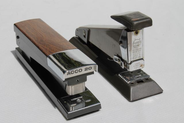 collection of vintage staplers, retro 60s 70s office desk paper s